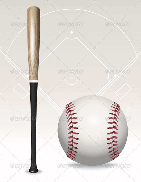 GraphicRiver Vector Baseball Bat Ball Field Elements 8160825