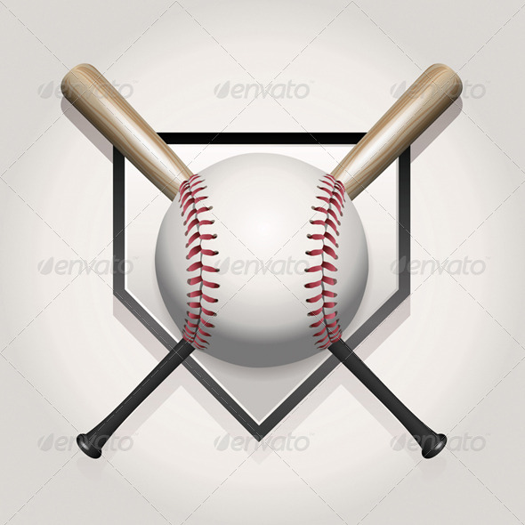 GraphicRiver Vector Baseball Bat Homeplate Illustration 8160835
