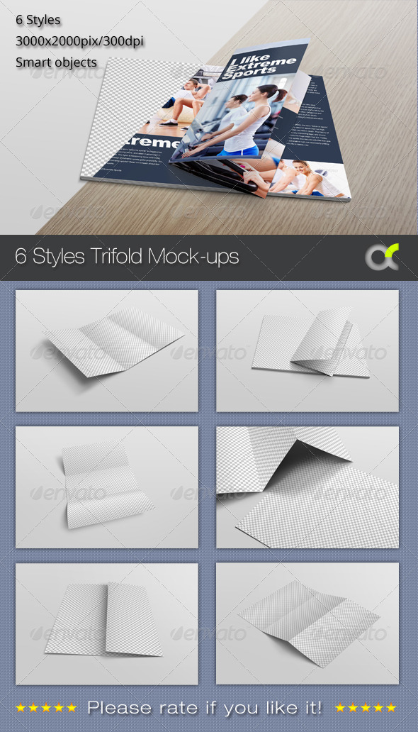 GraphicRiver 6 Styles Trifold Mock-ups 8160900