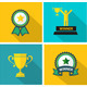 Set of Fflat Trophy and Prize Icon  - GraphicRiver Item for Sale