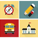 Set of School Flat Icons Vector - GraphicRiver Item for Sale
