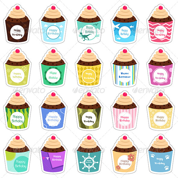 GraphicRiver Birthday Cupcakes Icons 8161027