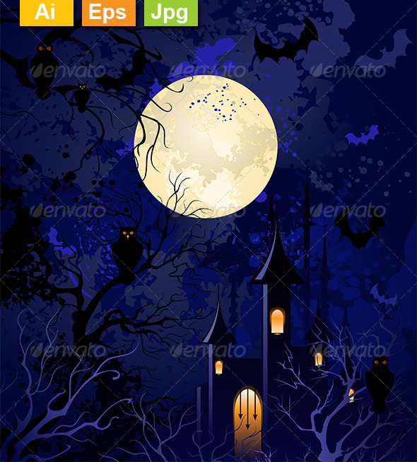 GraphicRiver Moonlit Night on Halloween 8161052