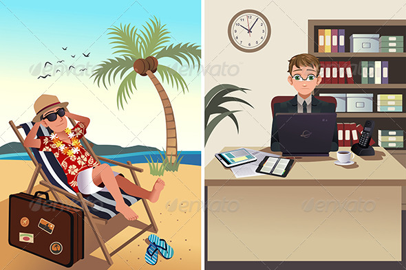 GraphicRiver People Going to Work and Vacation Concept 8161173