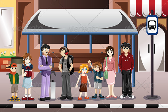 GraphicRiver People Waiting for a Bus 8161204