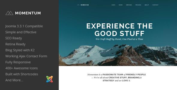 ThemeForest Momentum Simple Creative OnePage Joomla Template 8101814