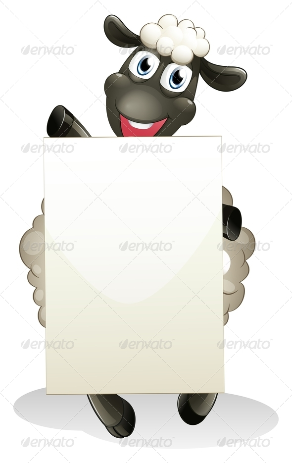 A Smiling Sheep Holding an Empty Cardboard