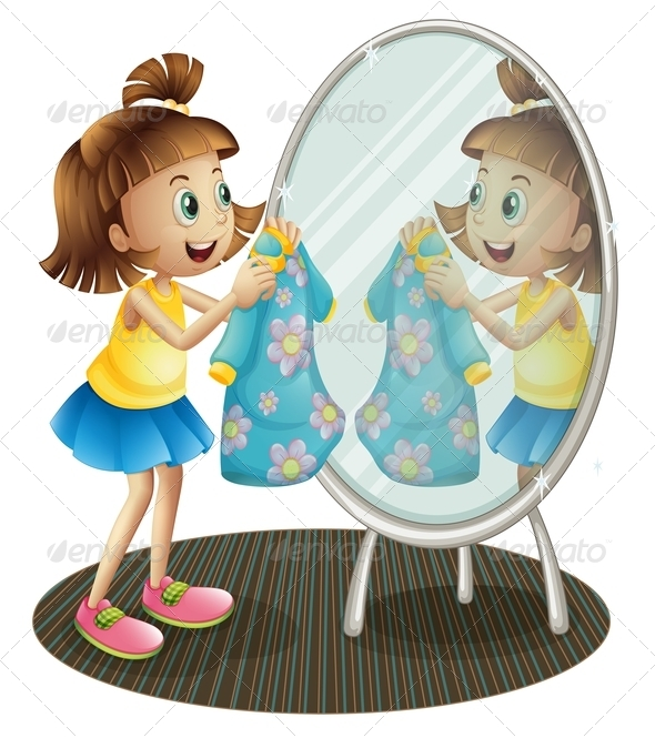 GraphicRiver Girl Looking at the Mirror with Her Dress 8161926