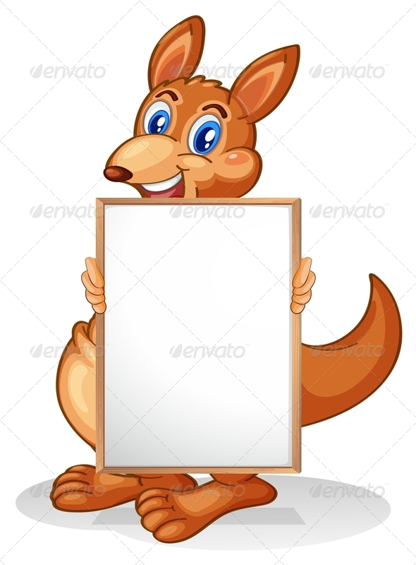A Kangaroo Holding an Empty Whiteboard