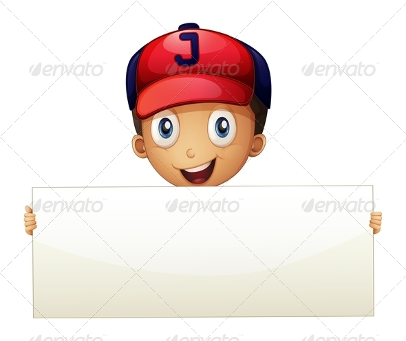 GraphicRiver A Happy Young Boy Holding an Empty Signboard 8161983