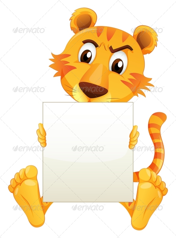 GraphicRiver A Sad Tiger Sitting Holding an Empty Cardboard 8161992