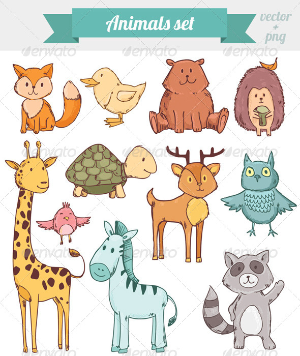GraphicRiver Animals set 8122983