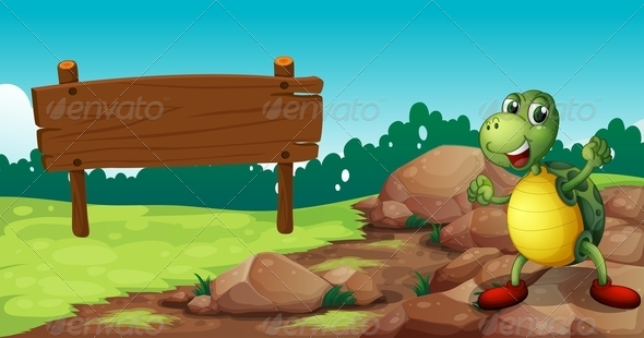 GraphicRiver A Turtle at the Rocky area near an Empty Signboard 8162182