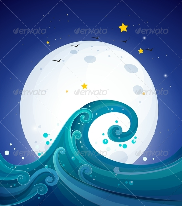 GraphicRiver Big Waves under the Bright Fullmoon 8162312
