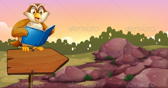 GraphicRiver An Owl Reading a Book on a Wooden Arrow Board 8162413