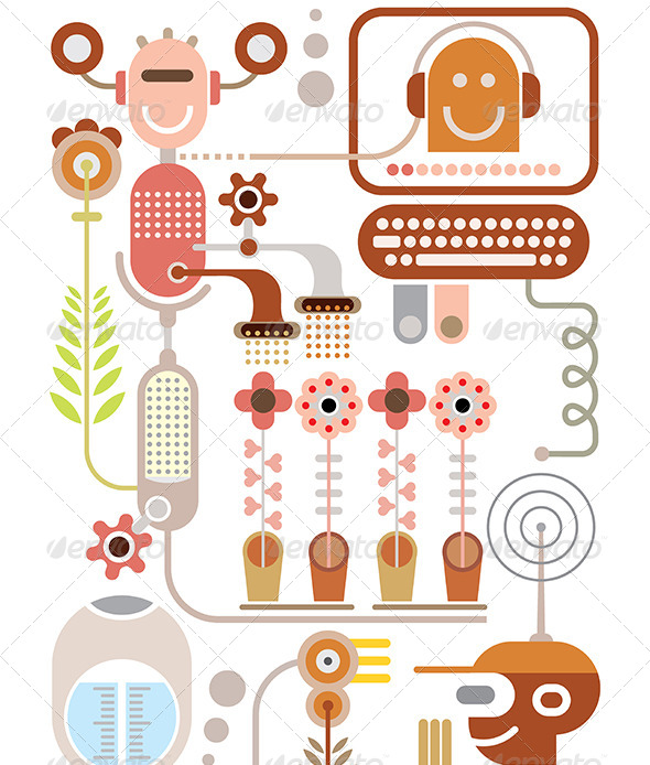 GraphicRiver Flowers Lab Vector Illustration 8163057