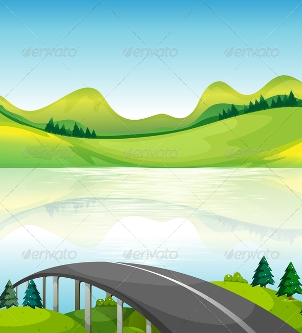 GraphicRiver Road Bridge Near the Lake 8163176