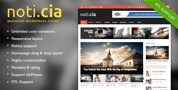 Noticia - Responsive WordPress Magazine Theme - News / Editorial Blog / Magazine