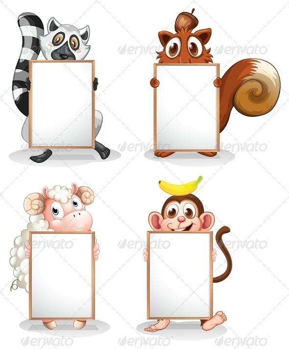 GraphicRiver Four Different Animals with Empty Whiteboards 8163200