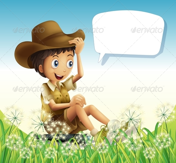 GraphicRiver A Boy Wearing a Hat Sitting with an Empty Callout 8163201
