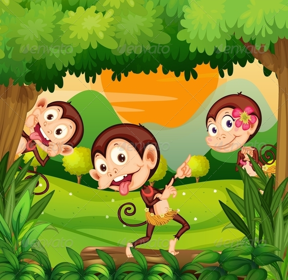 GraphicRiver Three Monkeys Dancing in the Forest 8163209