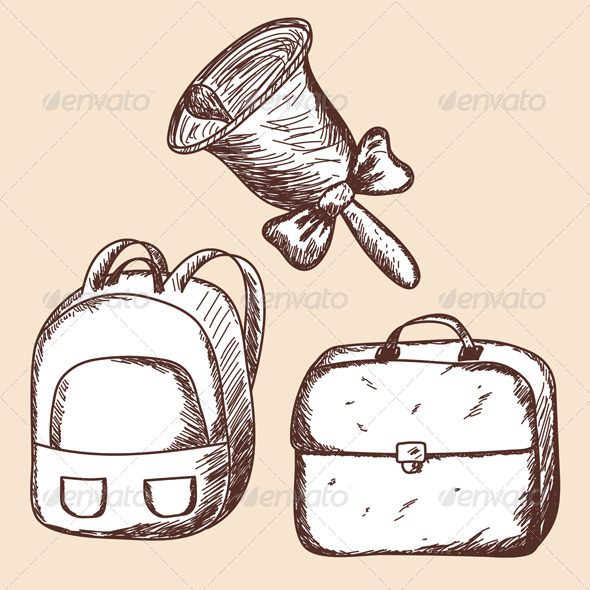 GraphicRiver School Bags and Bell Sketch 8163456