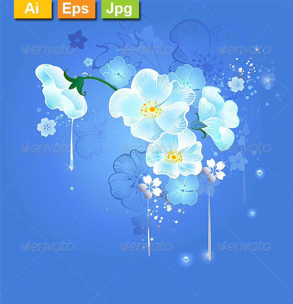 GraphicRiver Magic White Flowers 8163792