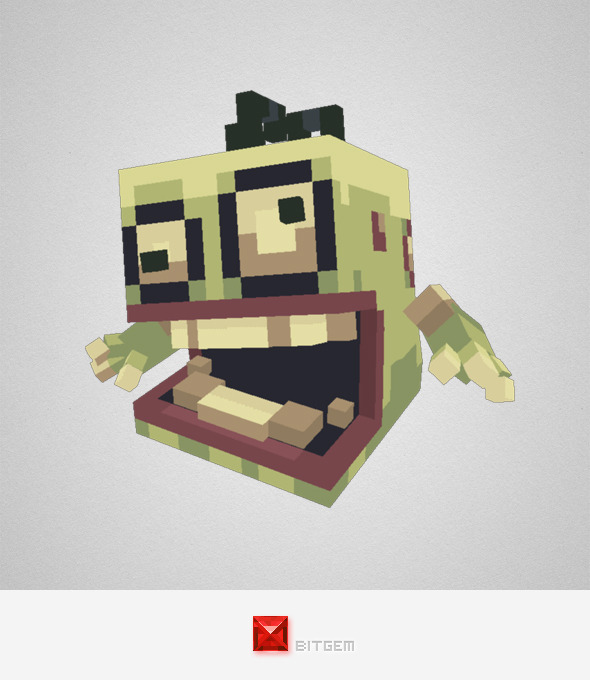 3DOcean Low Poly Pixel Zombie Brian 8163813