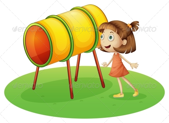 Girl Looking at a Rotating Drum