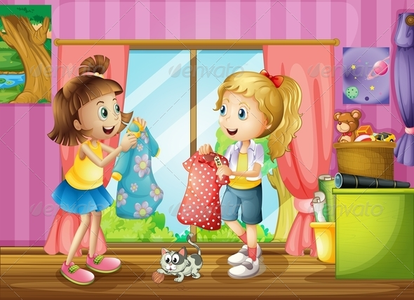 GraphicRiver Two Girls Talking About their Dresses 8163881