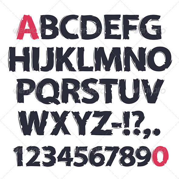GraphicRiver Ink Drawing Alphabet 8159048