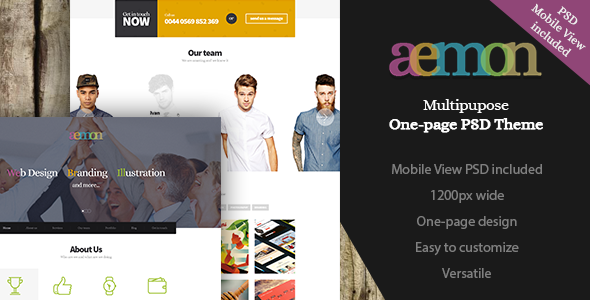 Aemon | Multipurpose One-Page PSD Theme