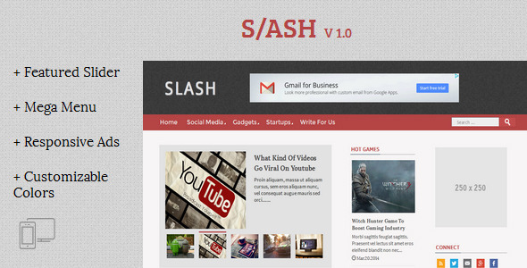 ThemeForest Slash Tech Magazine Blogger Template 8109373