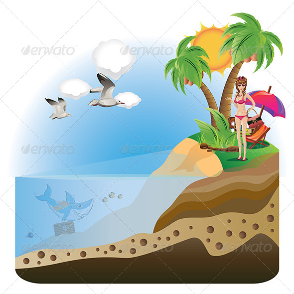 GraphicRiver Happy Girl on Island 8164015