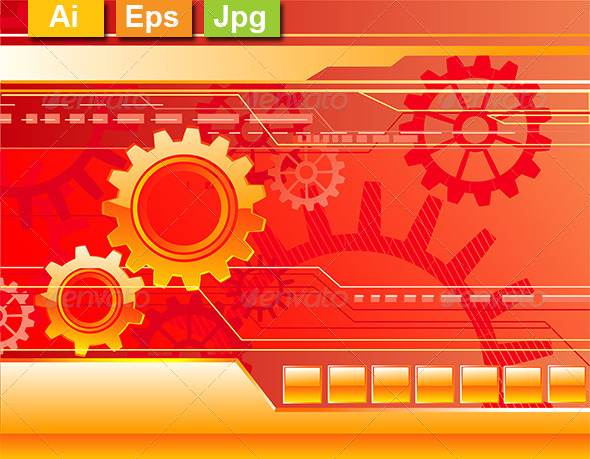 GraphicRiver Red Background with Gears 8164196