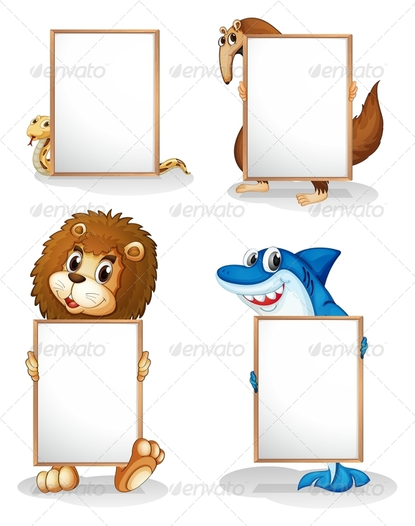 GraphicRiver Four Animals with Empty Whiteboards 8164231