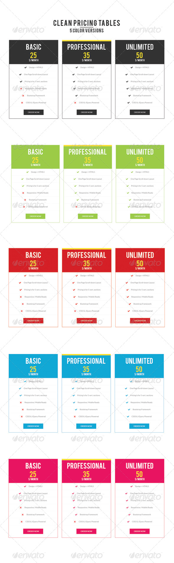 GraphicRiver Pricing Table 8164247