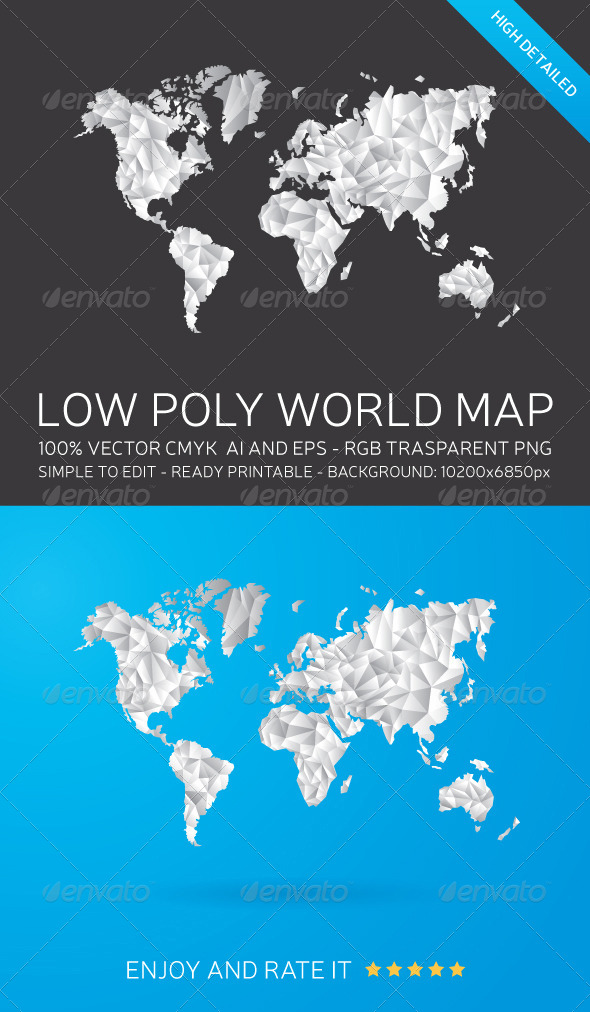 GraphicRiver Low Poly World Map 8157998