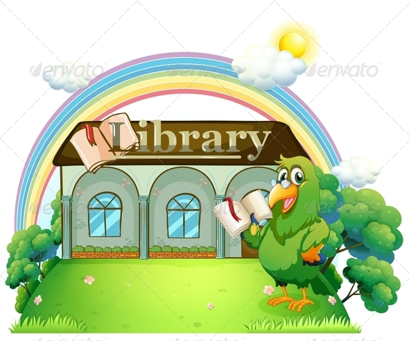 GraphicRiver Green Parrot Reading Outside the Library 8164274
