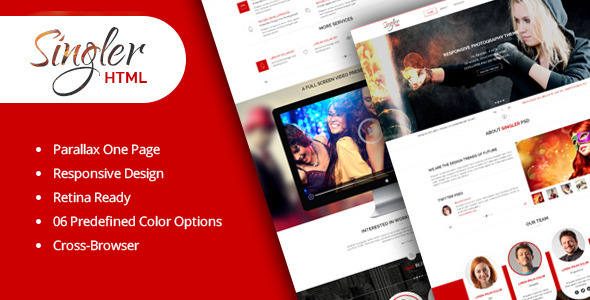 ThemeForest Singler One Page HTML Portfolio Template 8111951