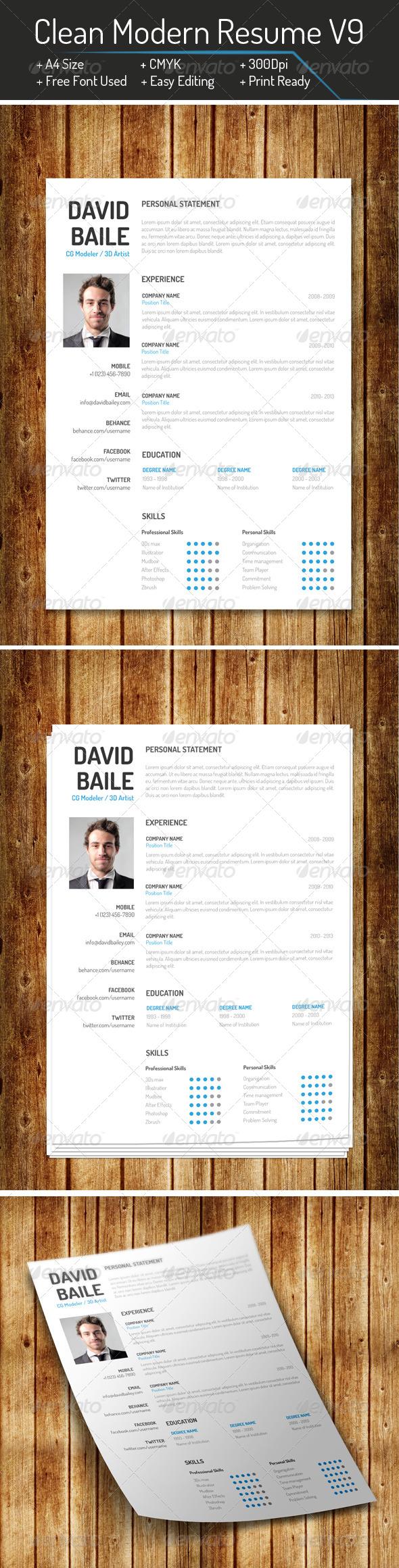 GraphicRiver Clean Modern Resume V9 8163374