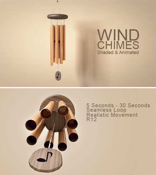 3DOcean Animated Wind Chimes Model 8158493