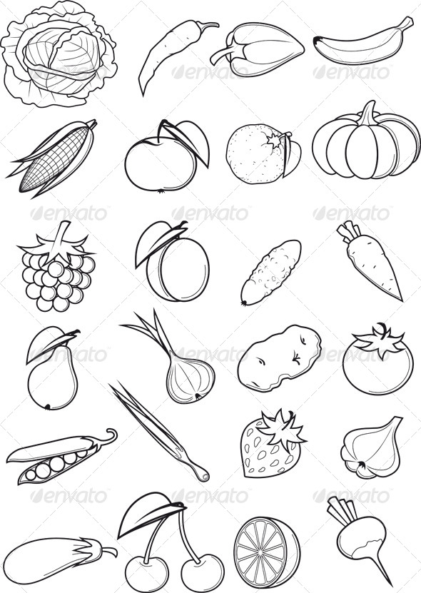 GraphicRiver Set of Fruits and Vegetables 8164638