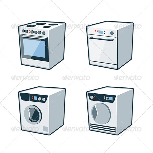 GraphicRiver Home Appliances 2 Cooker Dishwasher Dryer Washer 8164649