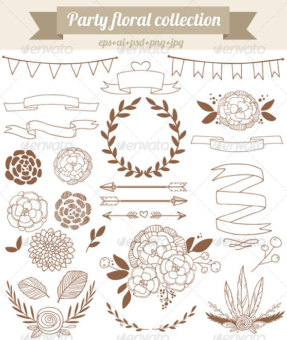 GraphicRiver Party Floral Collection 8164705