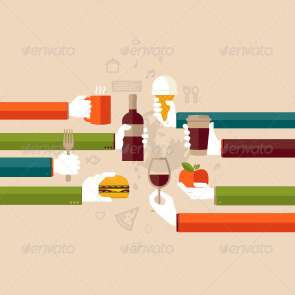 GraphicRiver Flat Design Illustration Concept for Restaurants 8159940
