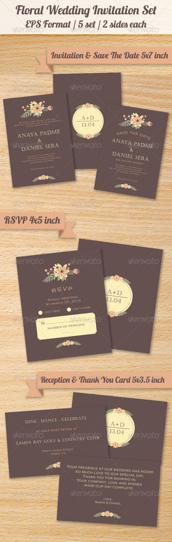 GraphicRiver Floral Wedding Invitation Set 8165892