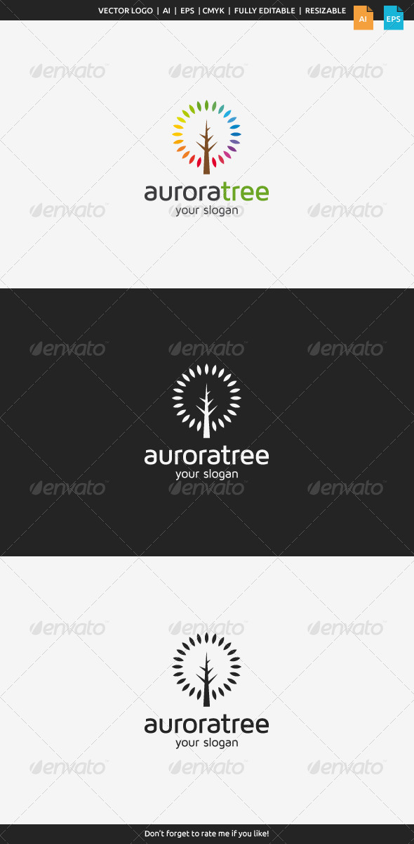 GraphicRiver Aurora Tree Logo 8165917