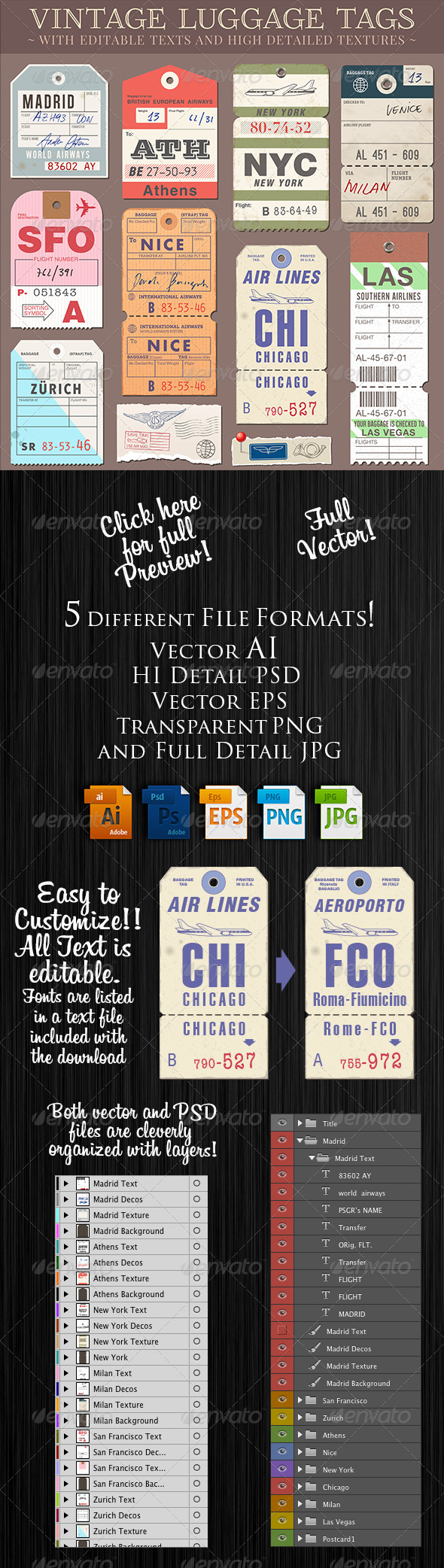 GraphicRiver Customizable Luggage Tags 8166763