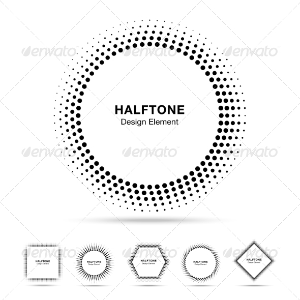 GraphicRiver Set of Black Abstract Halftone Shapes 8166853